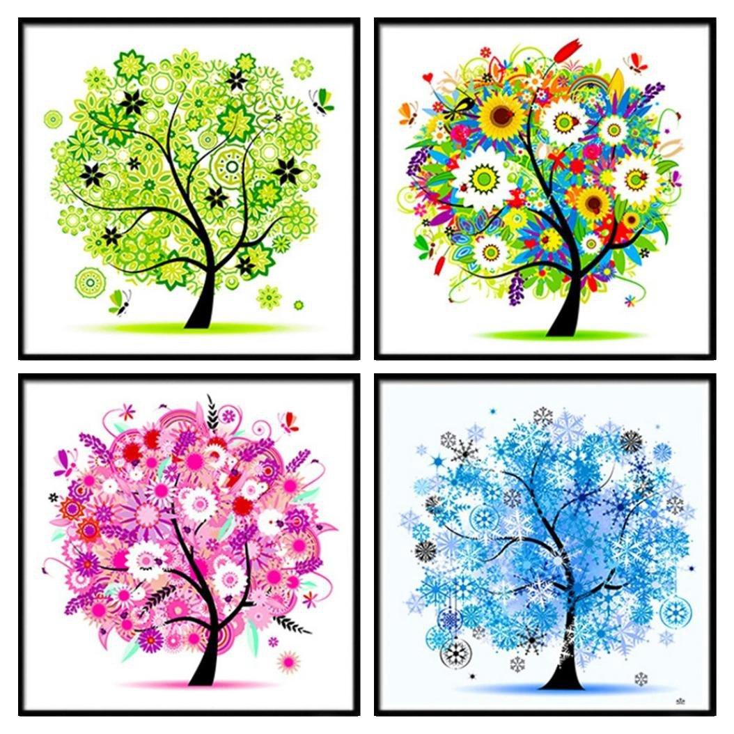 Four Seasons Tree 5D DIY Diamond Painting Cross Stitch Arts Craft Home Decoration Living Room Bedroom (4PC/Set)