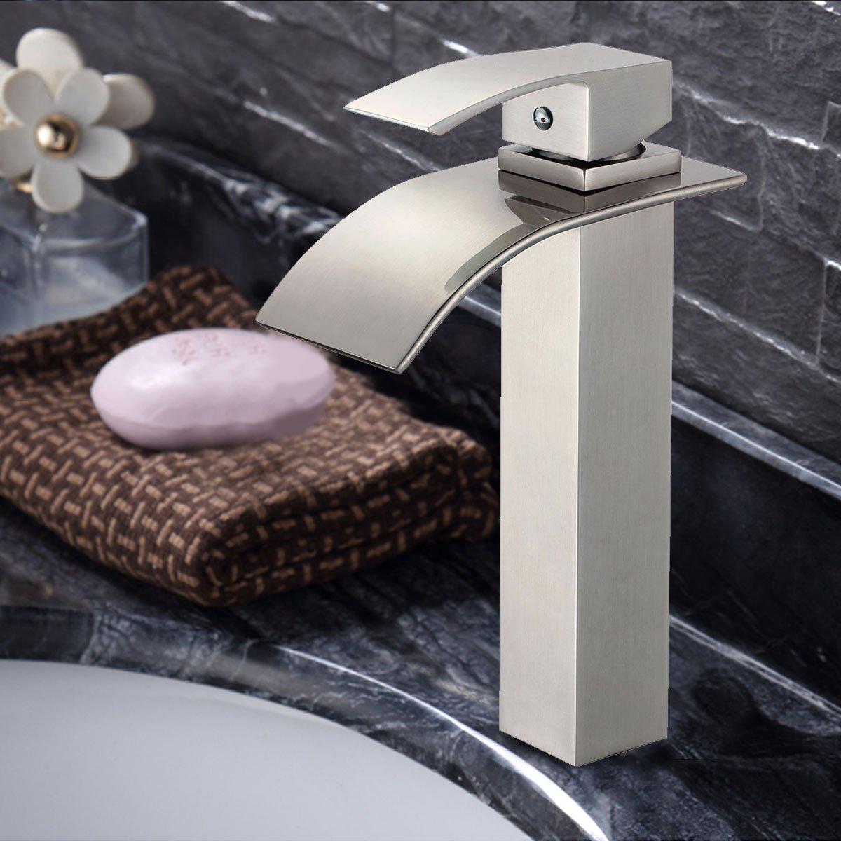 Basin&Sink Waterfall Faucet - Brass in Brushed Nickel (C-81H36-BN ...
