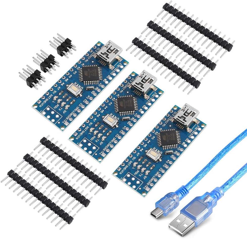 3PCs Nano V3.0 For Arduino with CH340G 5V 16M compatible ATmega328P USB Cable