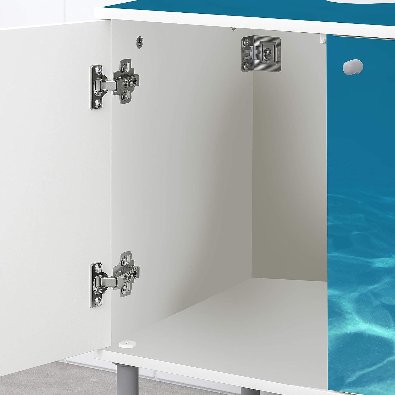wandmotiv24 Mueble de baño Azul Claro bajo el Agua Pegado Frontal y Lateral Lavabo, Mueble Lavabo M1053: Amazon.es: Hogar