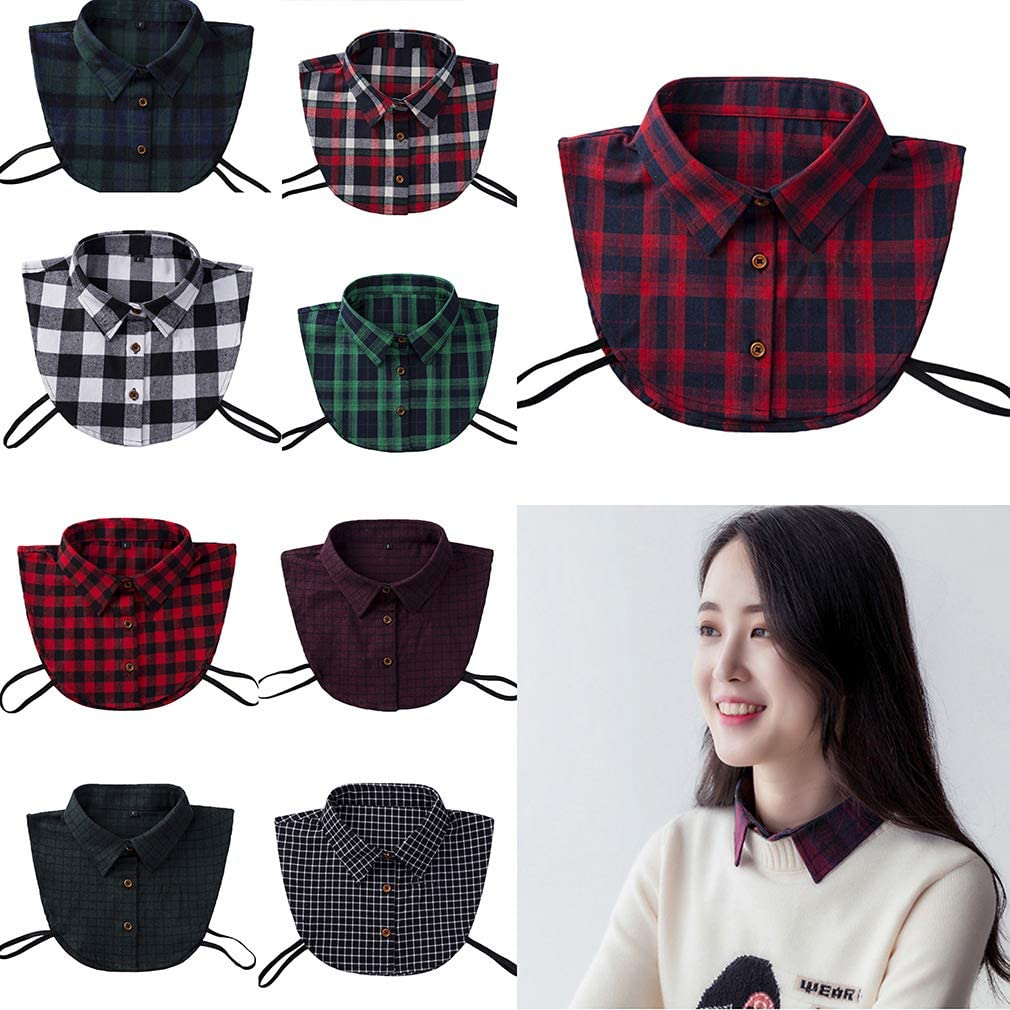 Bigood All-match Checked Fake Collar Detachable Dickey Blouse Half Shirts Collars Dark Red#b