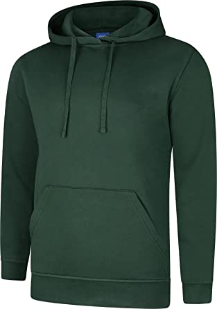 Uneek Deluxe Hooded Top Sweatshirt Hoodie Hoody Quality WorkWear Plain sport Gym