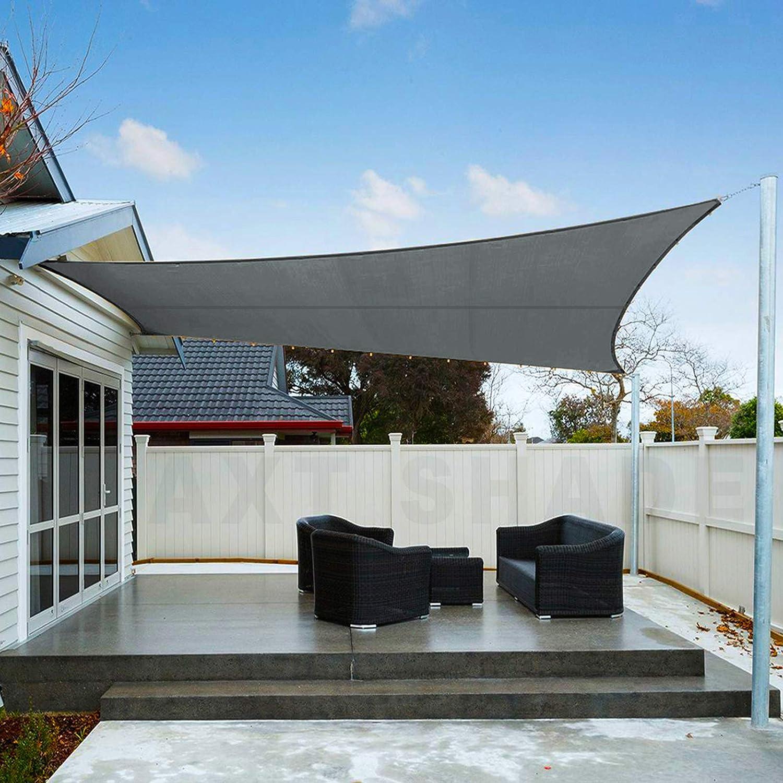 AXT SHADE Toldo Vela de Sombra Rectangular 4 x 5 m, protección Rayos UV Impermeable para Patio, Exteriores, Jardín, Color Gris