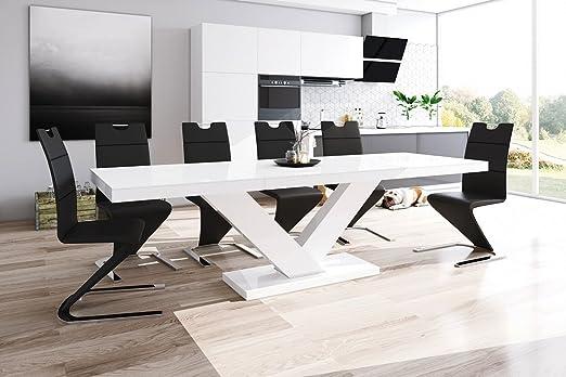 Furniture24 Design Esstisch Victoria ausziehbar 160 256 cm Hochglanz Acryl Tisch Küchentisch (Weiß Hochglanz)