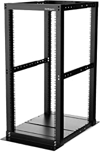 "StarTech.com 25U Open Frame Server Rack - 994lb Capacity - 4 Post Adjustable Depth (18.3"" to 39.3"") Network/Communications Equipment Rack w/ Casters (4POSTRACK25)"