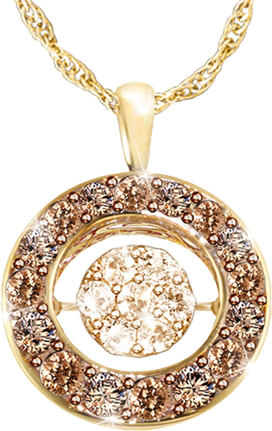 The Bradford Exchange Indulgence Diamond Mocha Pendant 18-Carat Gold-Plated Sterling Silver Pendant with A Pav/é of 7 Champagne Diamonds in Brilliant Motions/™ Setting