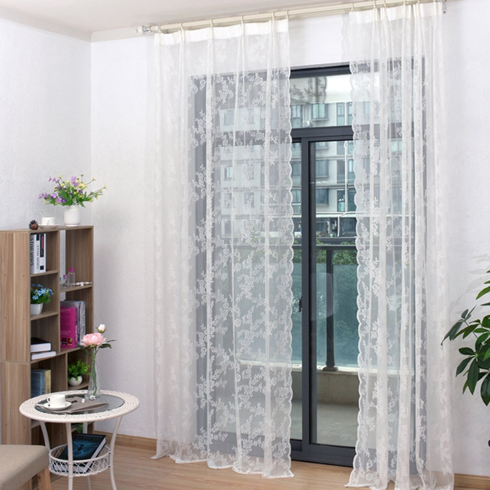 YOSEMITE Lace Flower Window Curtain Drape Home Bedroom Decoration