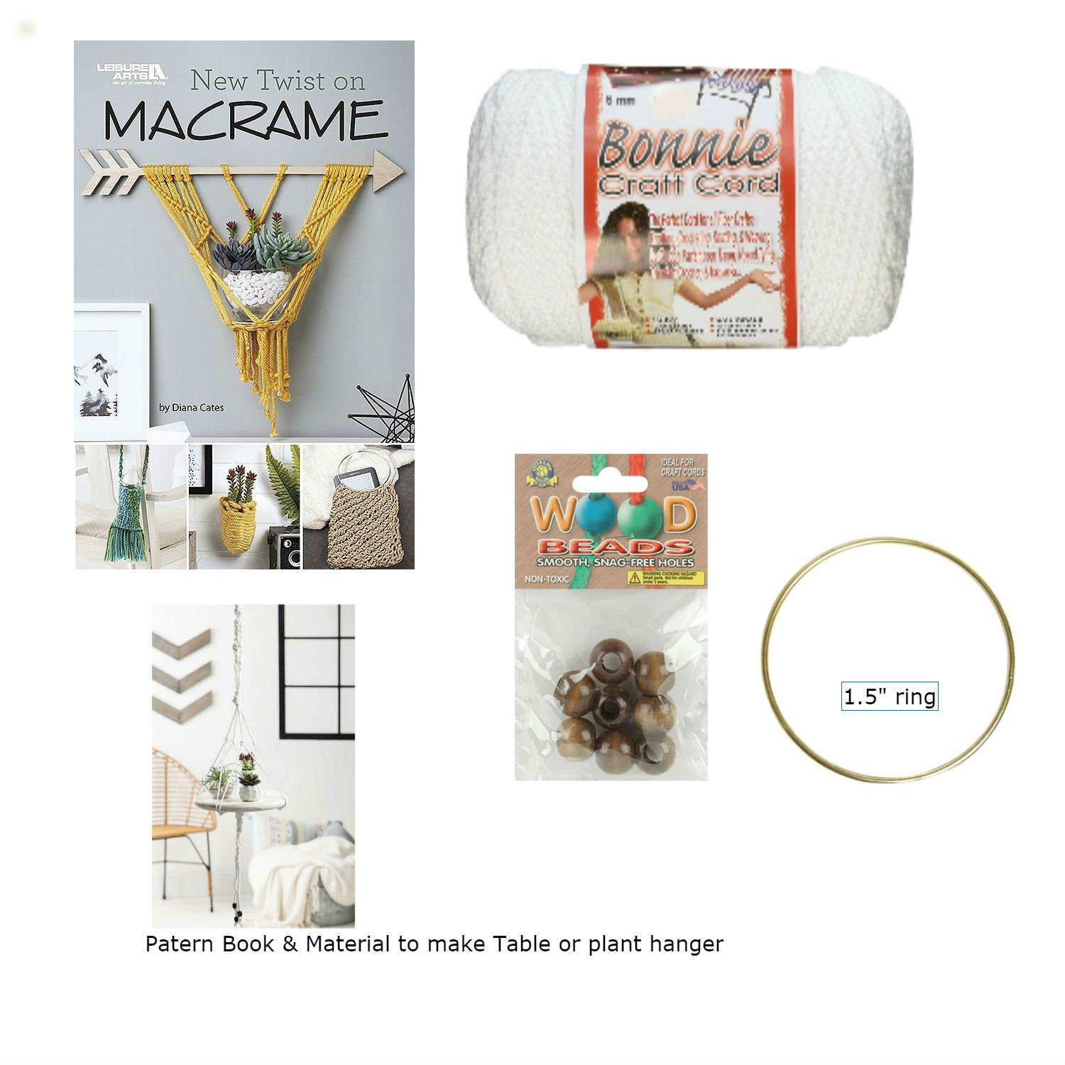 Macrame kit Bundle for Hanging Table or Plant Hanger with Macrame Cord, Wooden Beads, Brass Rings, and ''The New Twist on Macrame'' Booklet