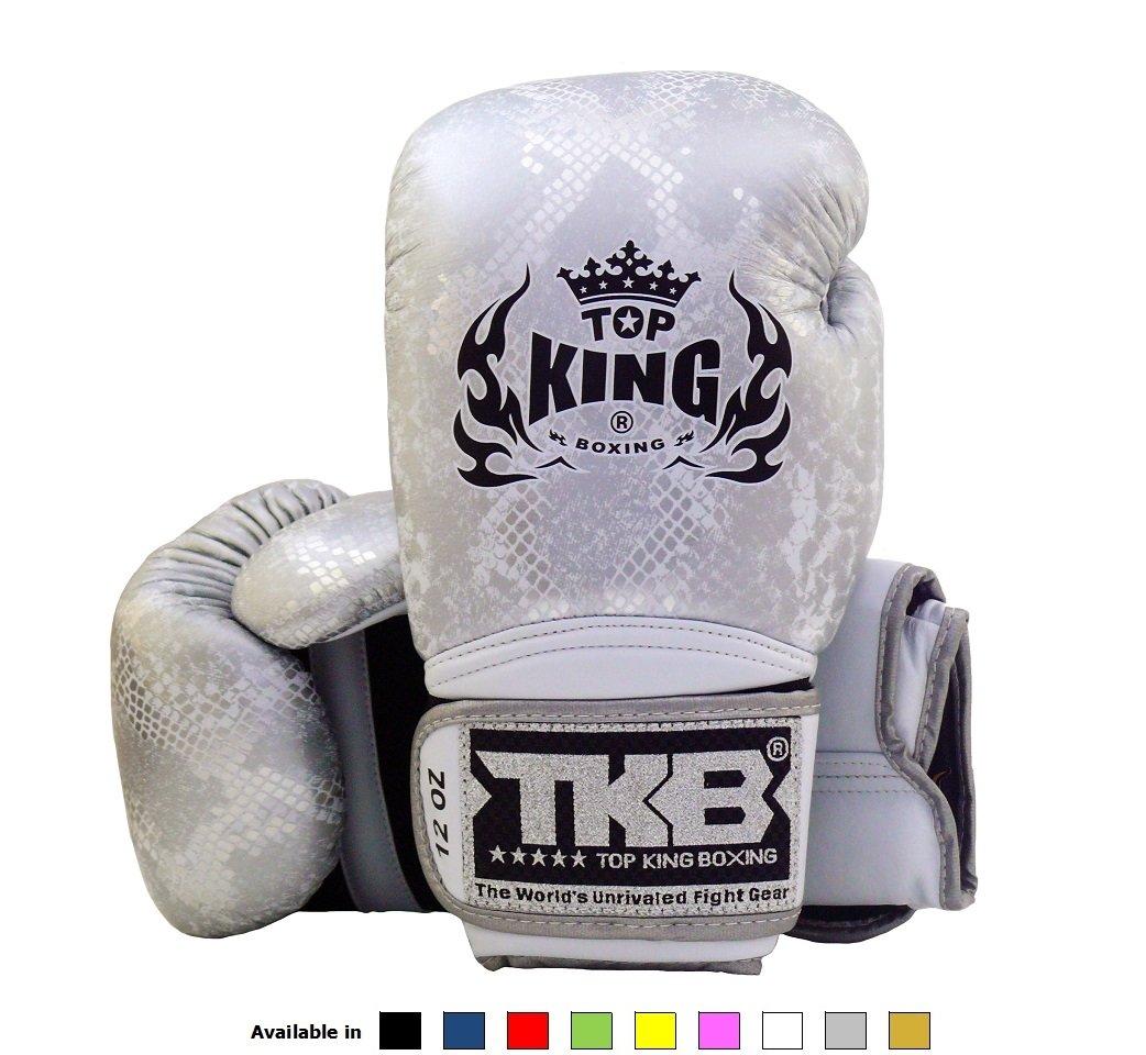 Top Kingタイ式ボクシンググローブサイズ: 8 10 12 14 16 Ozカラー:ブラックホワイトレッドグリーンブルーピンクイエローゴールドシルバー。デザイン:エア、Super Star、Empower創造性、究極。トレーニングSparringのボクシンググローブムエタイ総合格闘技k1 B01K27X0RK Super Snake - White/silver 12 oz