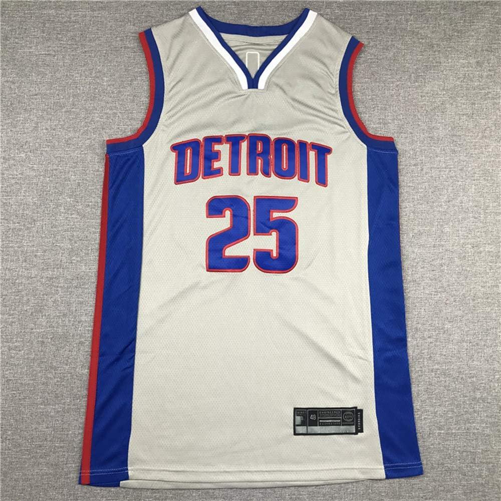GRYUEN Hommes Femme Detroit Pistons 25# Rose Maillot T-Shirt de Basket-Ball Uniforme de Basket-Ball Top Brod/és