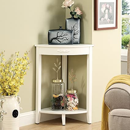 Zhen Guo 2 Tier Wooden Small Corner Table Unit Home Standing Storage Racking Shelf Telephone