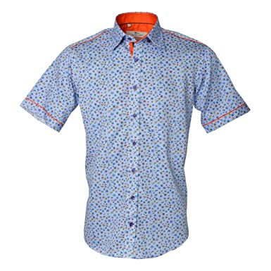 30ab8d68588 Claudio Lugli Check Dragon Fly Print Short Sleeve Mens Shirt 3XLarge Blue   Amazon.co.uk  Clothing