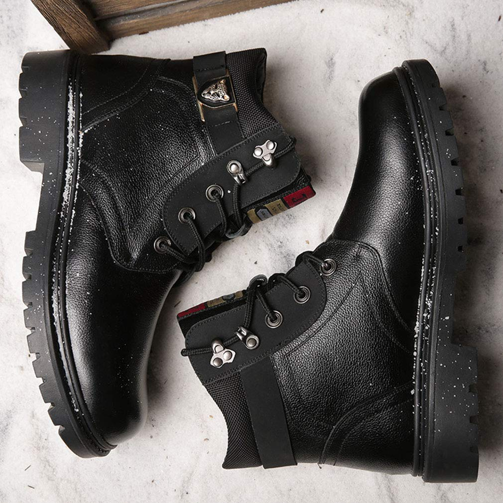Gfphfm Men ' S Stiefel, Winter Winter Winter New Casual Martin Stiefel Plus Velvet Keep Warm Leather Snow Stiefel schwarz, braun,B,39 ba5ccf