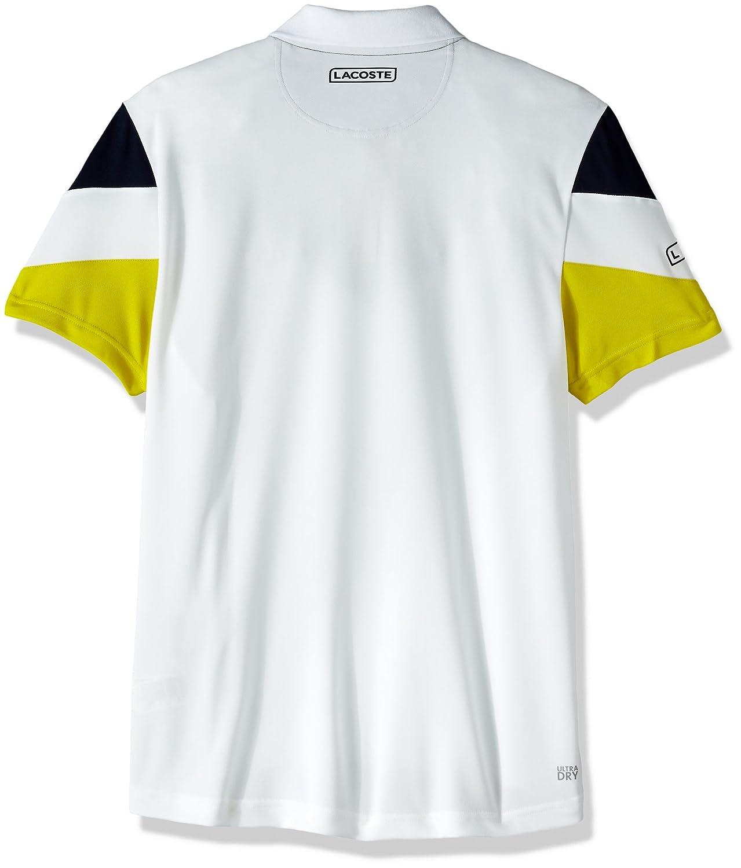 eb1f70a7 Lacoste Men's Tennis Short Sleeve Ultra Dry Chevron Colorblock Polo, White/Navy  Blue/soda Yellow Small at Amazon Men's Clothing store: