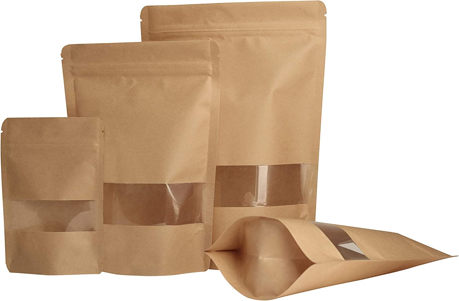"""Yuugen Products Kraft Stand-Up Pouch Bags with Clear Window, Zip Lock, and Tear Notch - Reusable, Heat-Sealable 