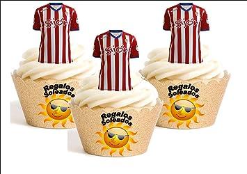 12 x Sporting Gijón Camiseta de Fútbol 2016-17 Decoración Comestible Personalizacion de Reposteria Feliz