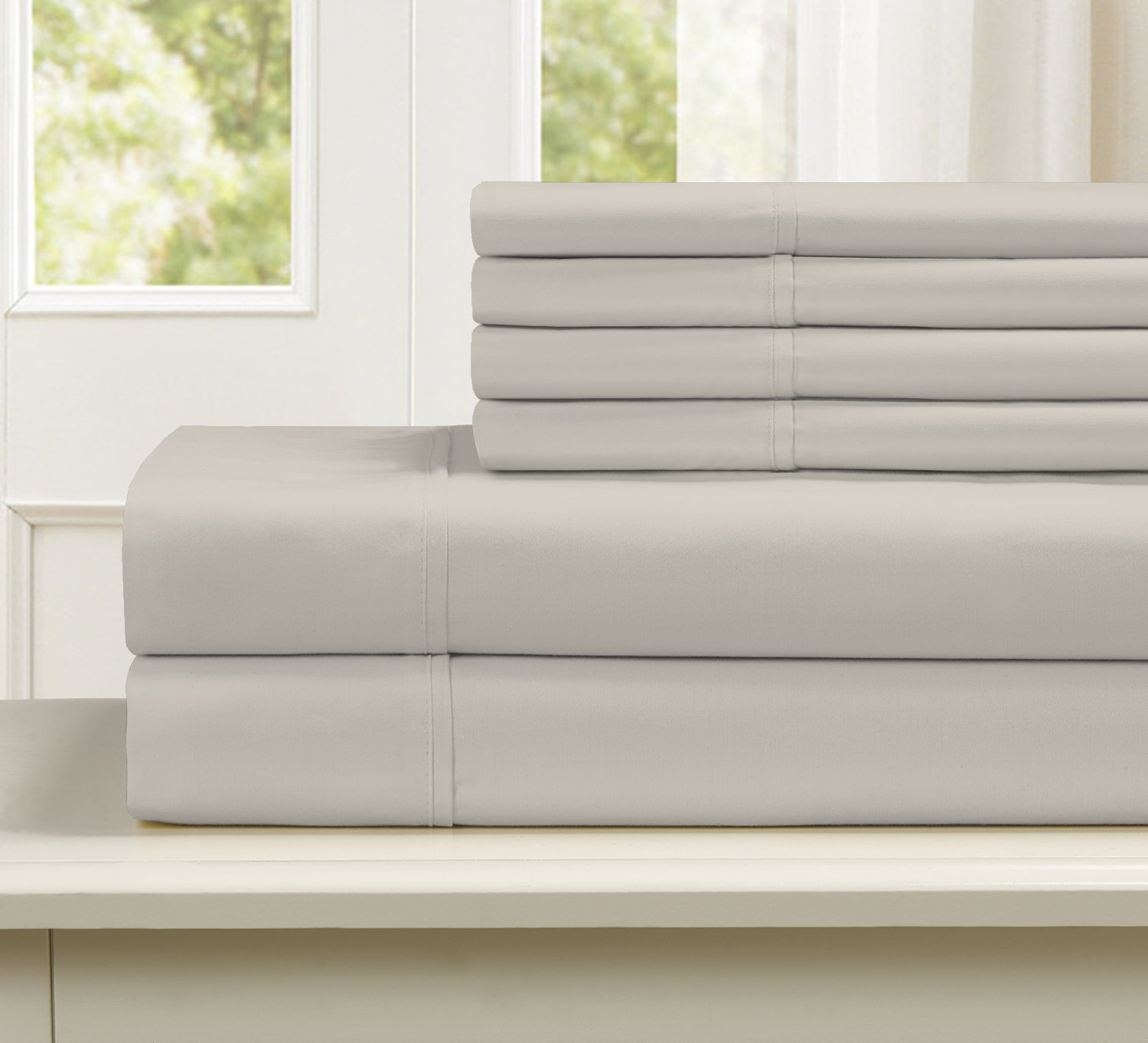 Blissful Living 800 Thread Count Cotton Rich 4-6 Piece Sheet Set - INCLUDES EXTRA PILLOWCASE(S)! Super Soft, Hotel Quality Luxury (Queen, Tan)