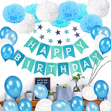 MMTX Birthday Decorations For Boys Happy Bunting Banner With 10 Balloons Blue10