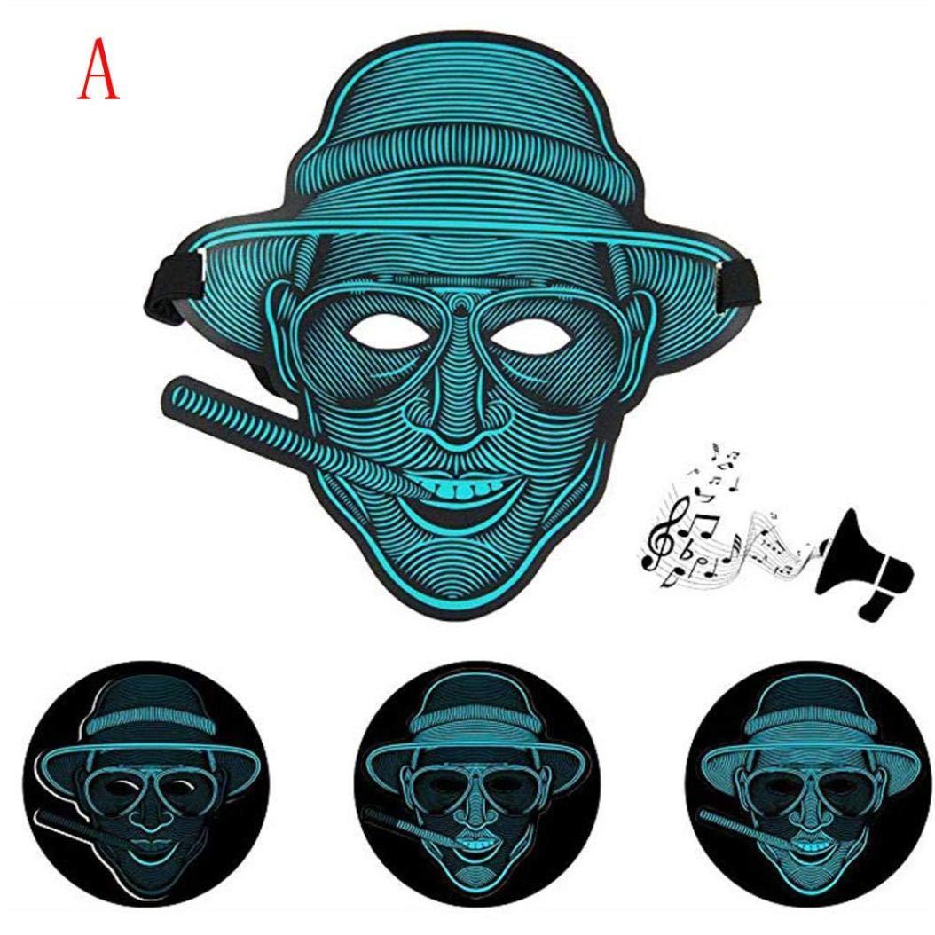 Ecosin Halloween Mask Sound Reactive Full Face LED Light Up Mask Dance Rave Party