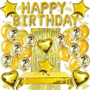 Sunshine Smile Geburtstagdeko Gold Partydekoration Geburtstag Dekoration Set Happy Birthday Girlande Gold Luftballons Konfetti Ballons Gold Herz Folienballon Glitzer Vorhang Happy Birthday Deko Spielzeug