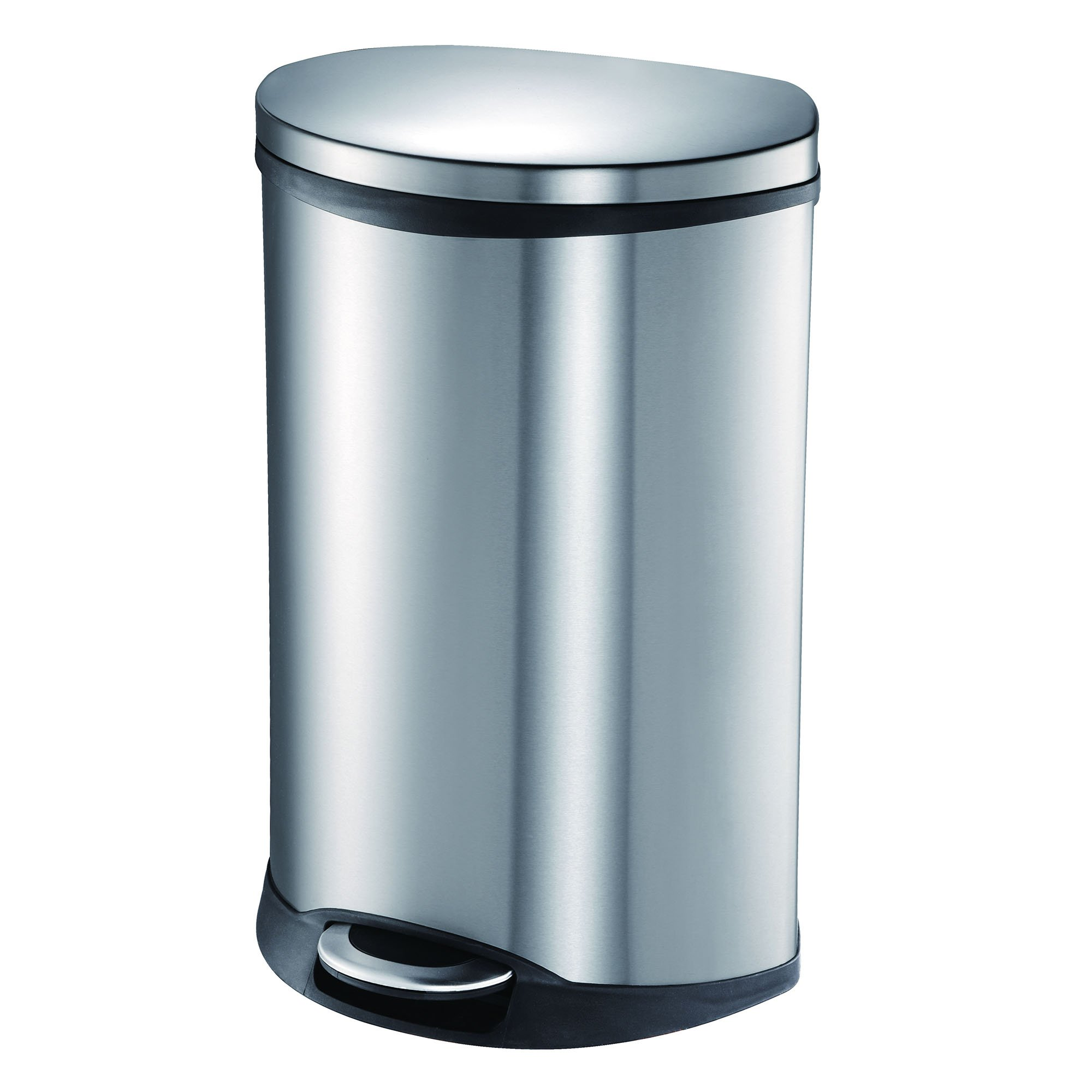 EKO 92185-1 Oblong Shell 13 Gallon Stainless Steel Step Trash Can with Lid | 50 Liter Metal Waste Bin