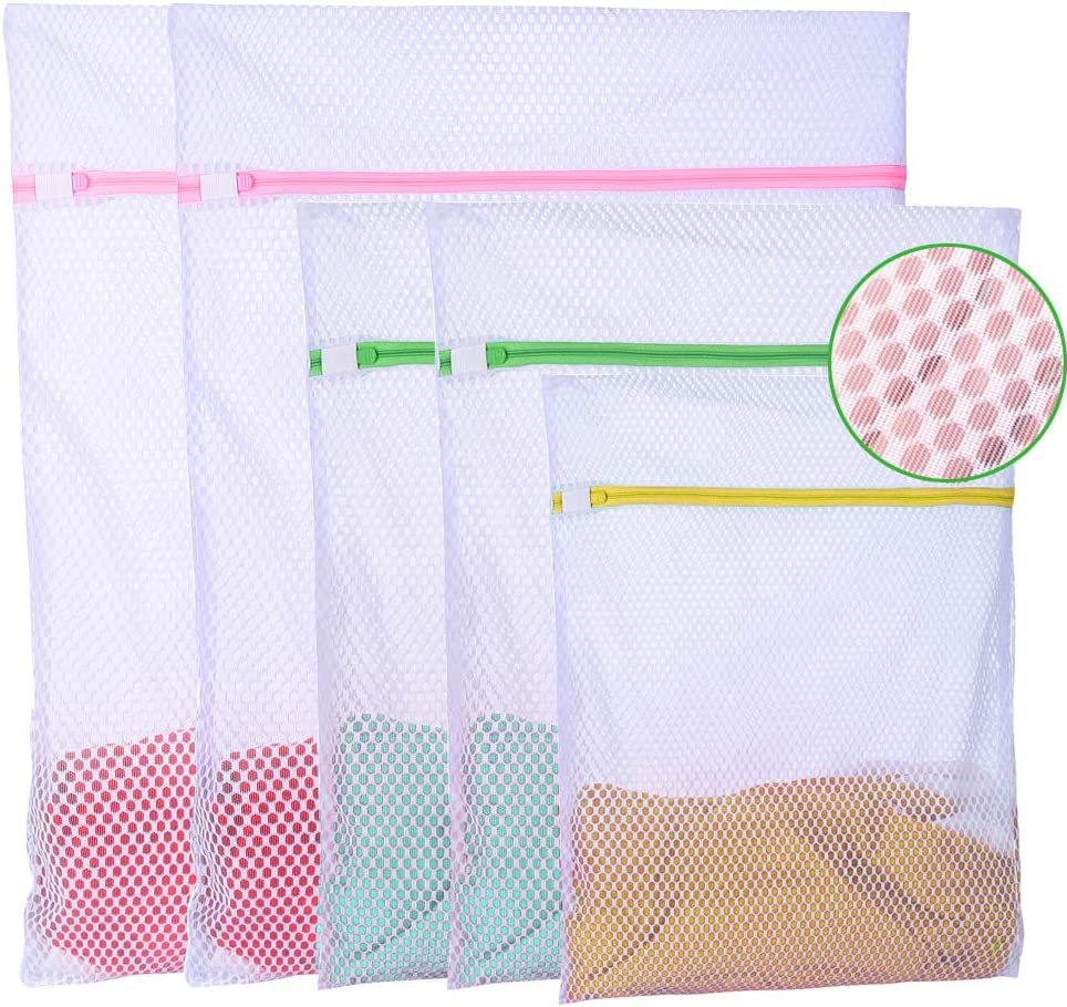 5Pcs Heavy Duty Sturdy mesh Laundry Bags for Delicates Laundry wash Bag for Socks Bras Lingerie Coat Bed Sheets,Travel Laundry Bag