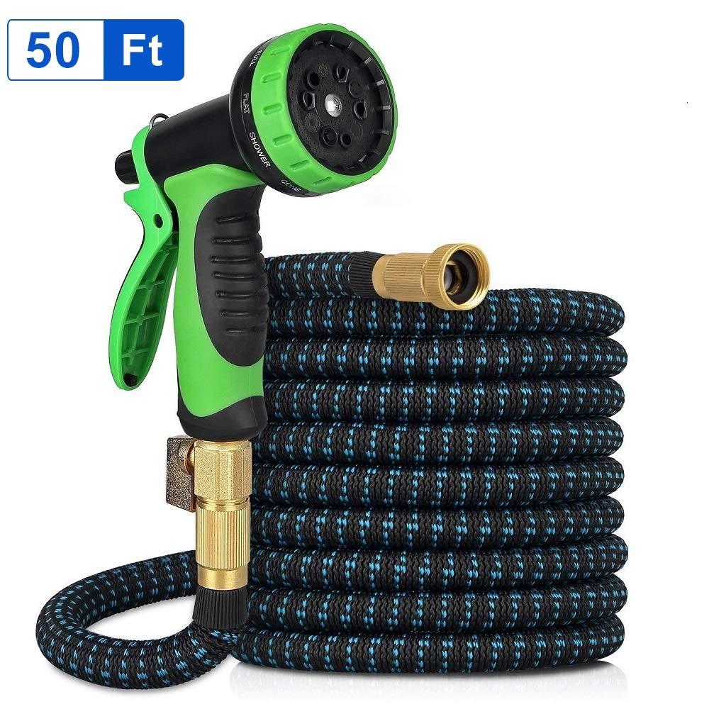 Garden Hose 50ft Expandable Garden Hose Kink-Free Flexible Water Hose with 10-Pattern Spray Nozzle Kranich