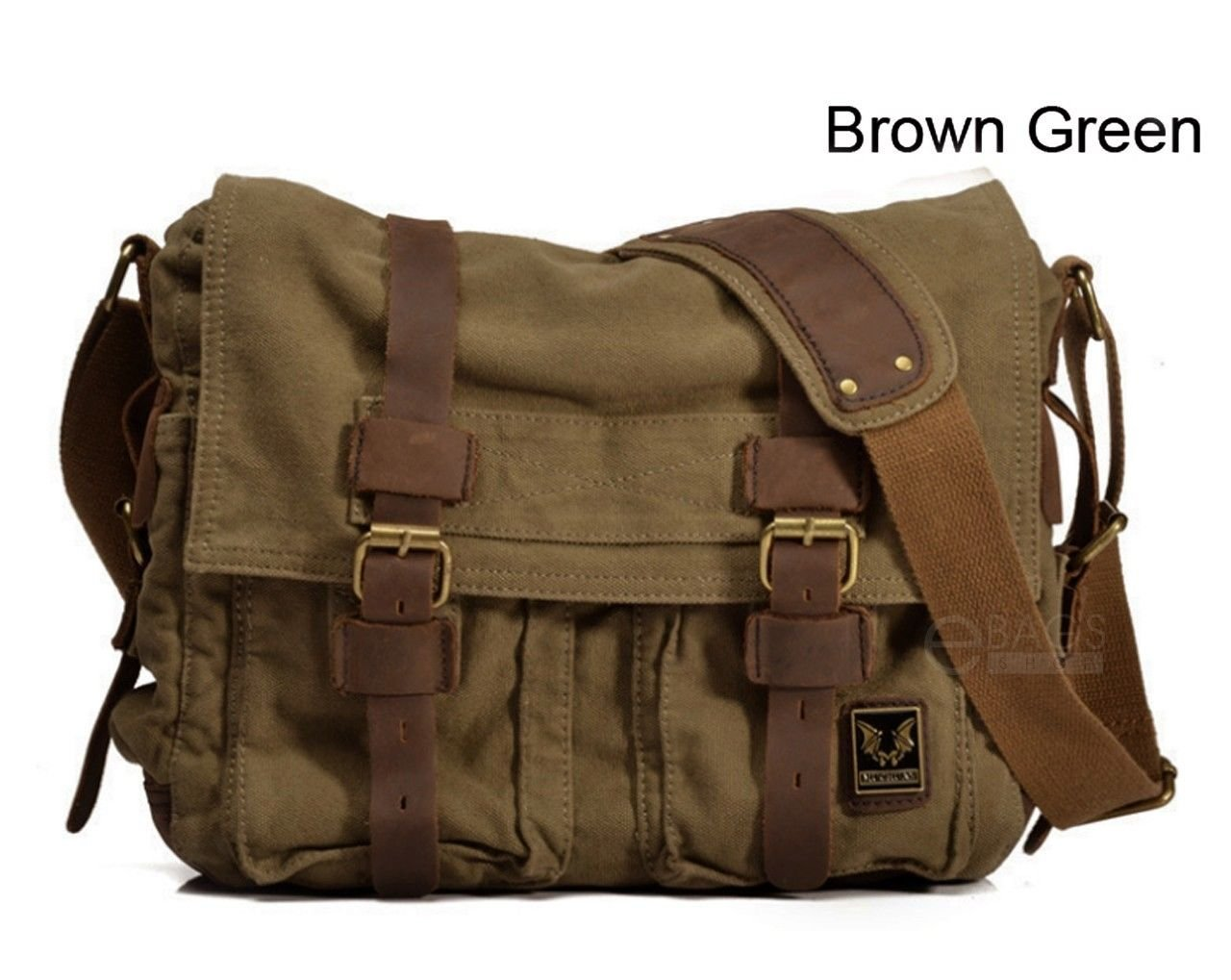Travelogy Luggage Brown Green Mens Military Canvas Leather Satchel School 14 Laptop Shoulder Messenger Bag