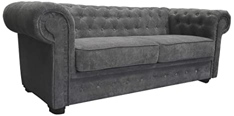 Fine Chesterfield Style Sofa Bed Venus 3 Seater 2 Seater Fabric Grey Settee 2Seater Grey Unemploymentrelief Wooden Chair Designs For Living Room Unemploymentrelieforg
