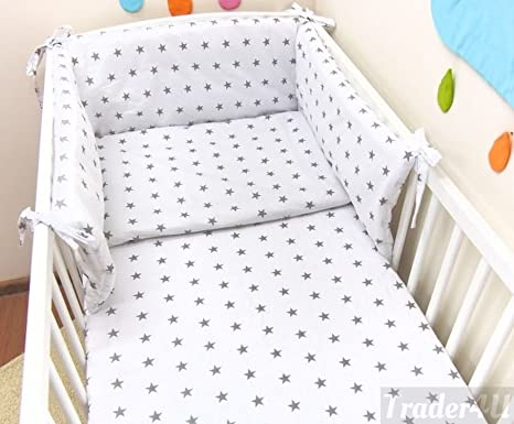 Fit to Cot Bed 140x70 cm, Elephants with Blue Umbrella MillaLu 3 Pcs Baby Nursery Bedding Set fit to Cot 120x60cm or Cot Bed 140x70cm Padded Bumper