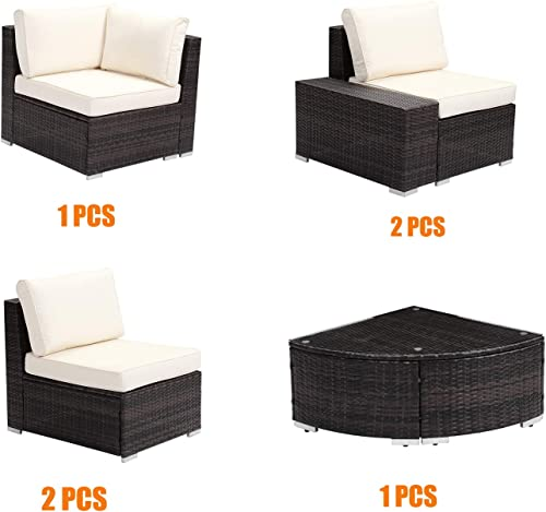 Klismos 6 Pieces Patio Furniture Set Water-Resistant Outdoor Wicker Sectional Sofa PE Rattan Conversation Set