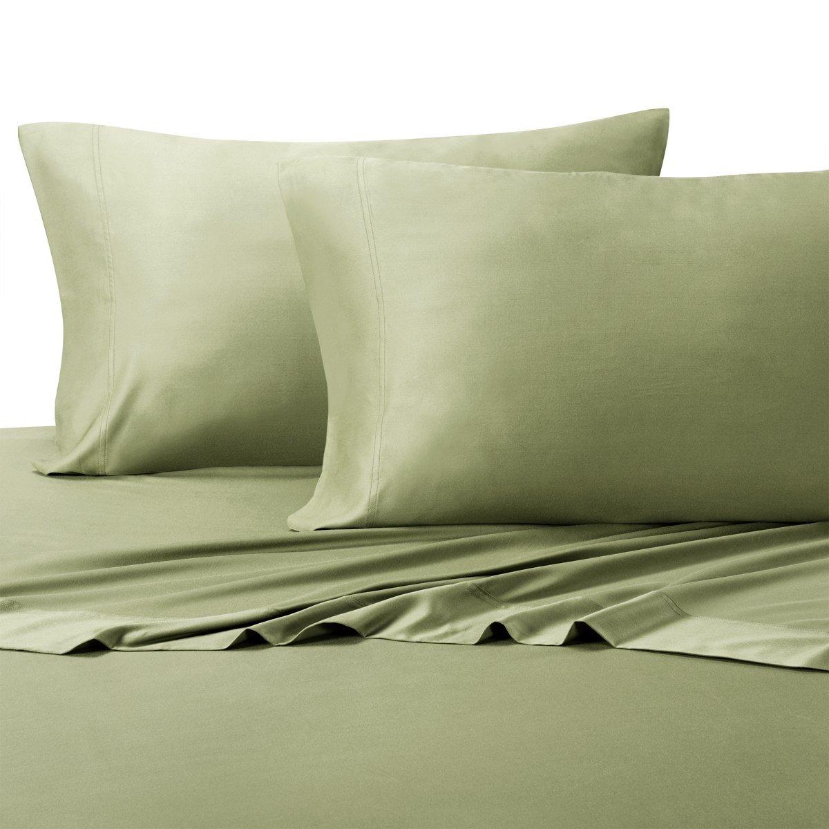 Royal Tradition 100 Percent Bamboo Bed Sheet Set, Twin Extra Long XL, Solid Sage, Super Soft and Cool Bamboo Viscose 3PC Sheets