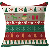 Gotd Merry Christmas Pillow Case Gifts under Christmas Tree Xmas 18 x 18 Cushion Cover Merry Chritmas Home Decor Design Throw Pillow Cover Pillow Case 18 x 18 Inch Cotton Linen for Sofa (Gift D)