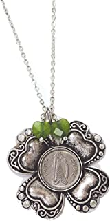 product image for American Coin Treasures Irish Threepence Four Leaf Clover and Green Heart Charm Pendant