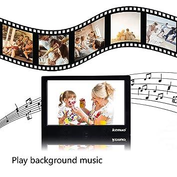 Marco de Fotos Digital Kenuo 10.1 Pulgadas Pantalla Full HD16:9 Resolución 1024 * 600 Reproductor de Audio MP3 MP4 Reloj Electrónico Calendario con Control ...