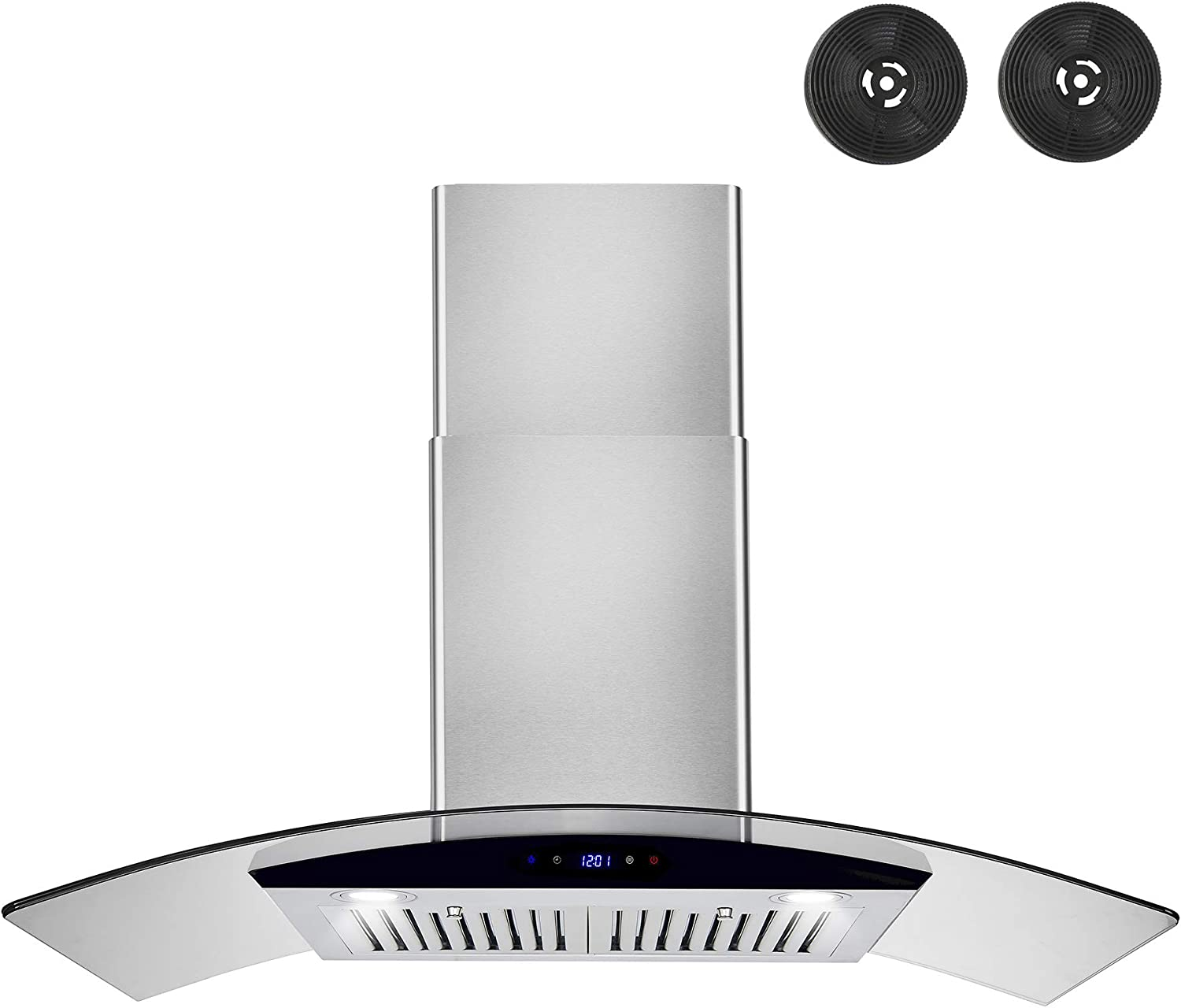 AKDY Convertible Kitchen Wall Mount Range Hood in Stainless Steel w/Tempered Glass, Touch Control and Carbon Filters (36 in.)