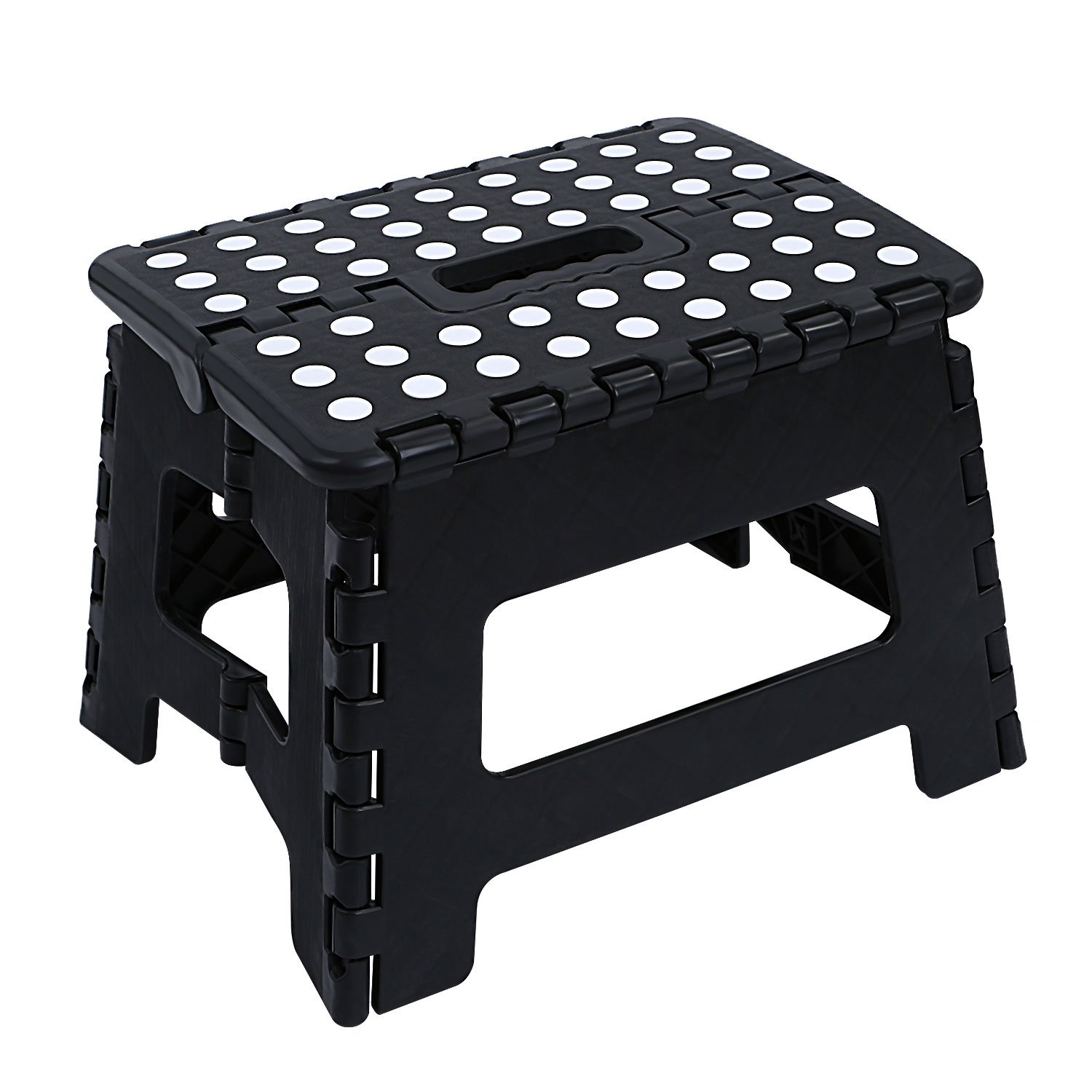 NONMON Plastic Folding Step Stool Black - Great Kitchen, Bathroom, Bedroom, Kids Adults 28.5 x 21.5 x 22cm