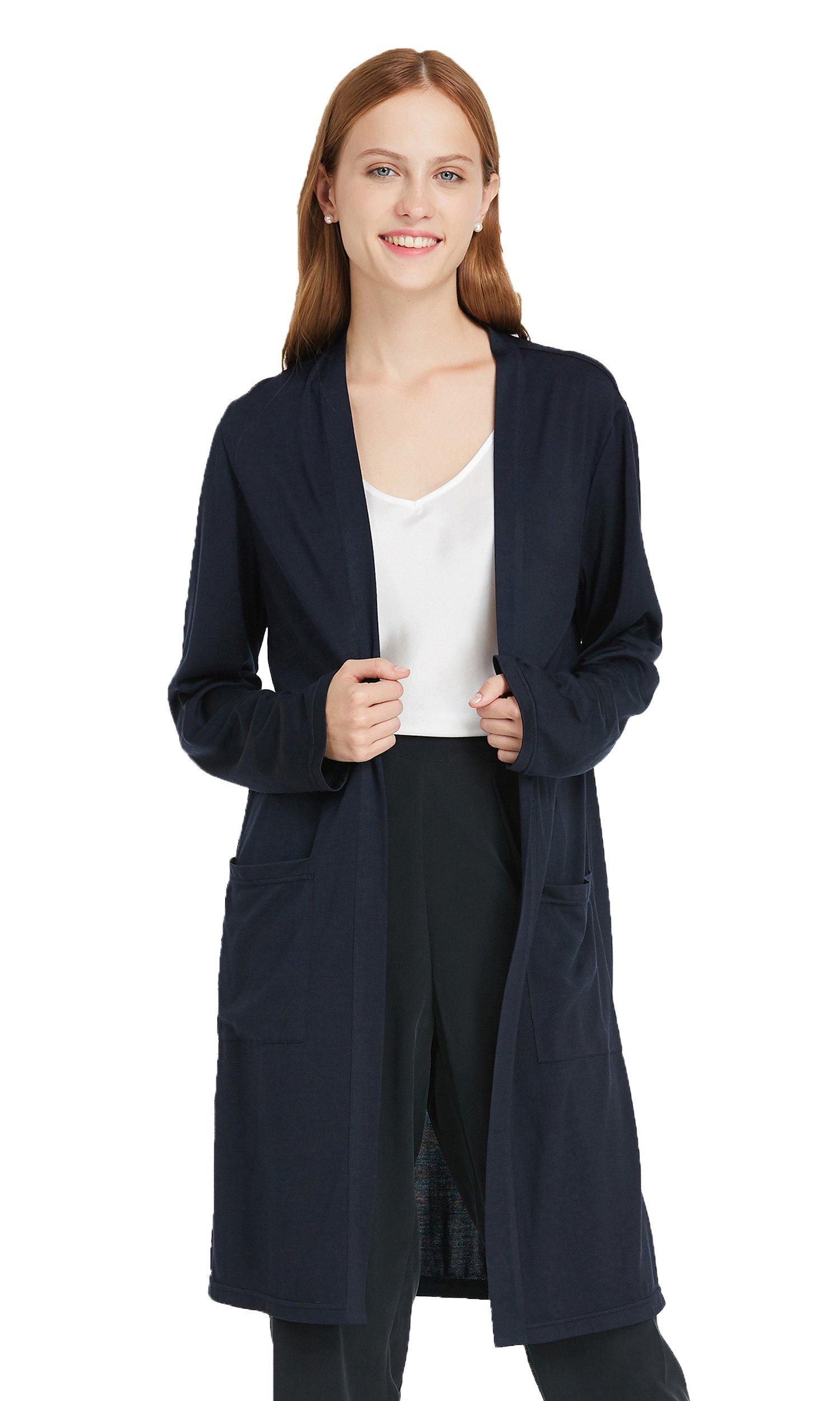 LILYSILK Womens Cardigan Real Silk and Wool Blend Coat All Match Long Knitted Outerwear Ladies Winter Navy Blue S/4-6 by LilySilk