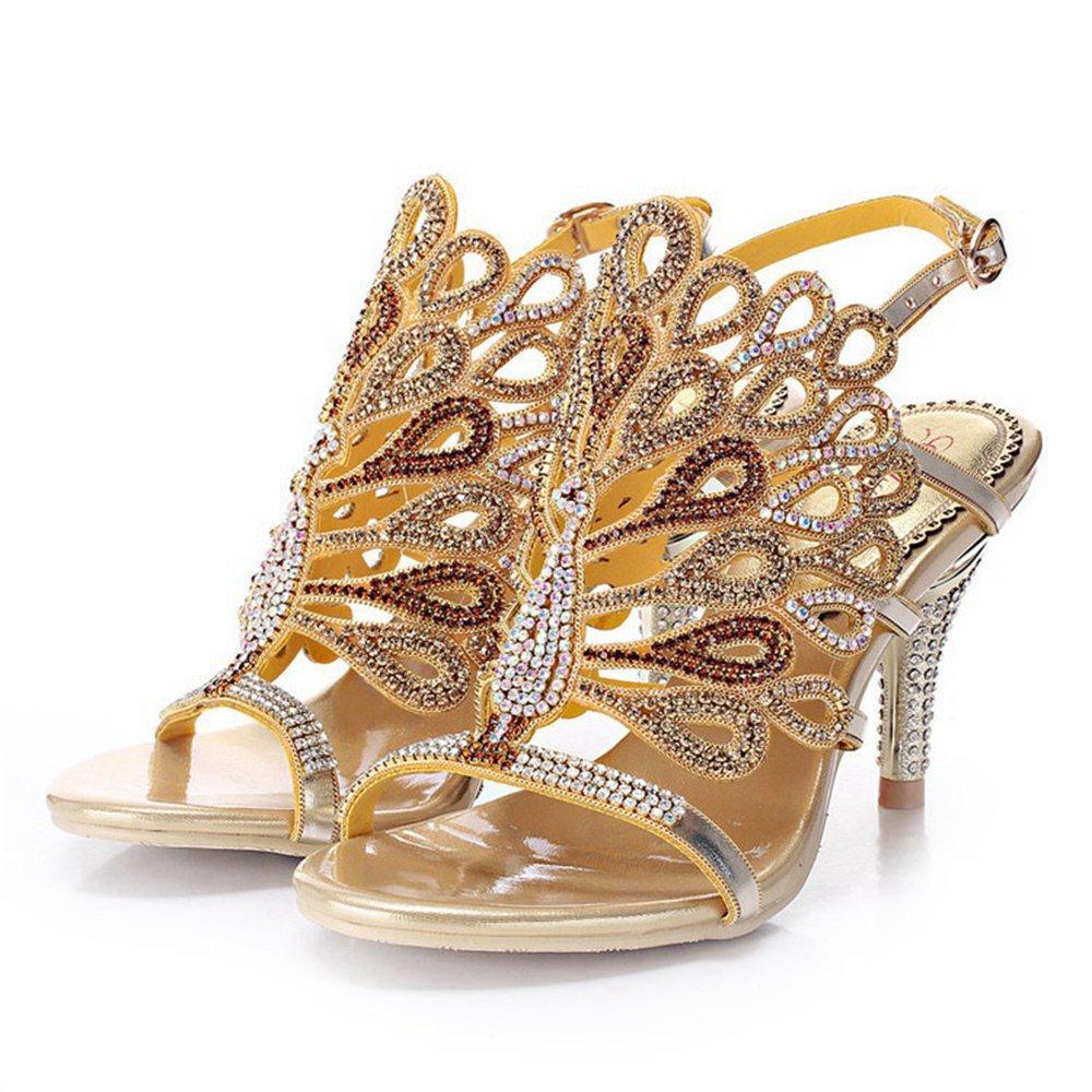 Stilettoheel  Weibliche Sommer Strass Sandalen High-End Diamant Hochwertige Exquisite Hochhackige Schuhe Luxus Dicke Ferse Schuhe GroßE Gr&ou ;ßE Schuhe (Gold)