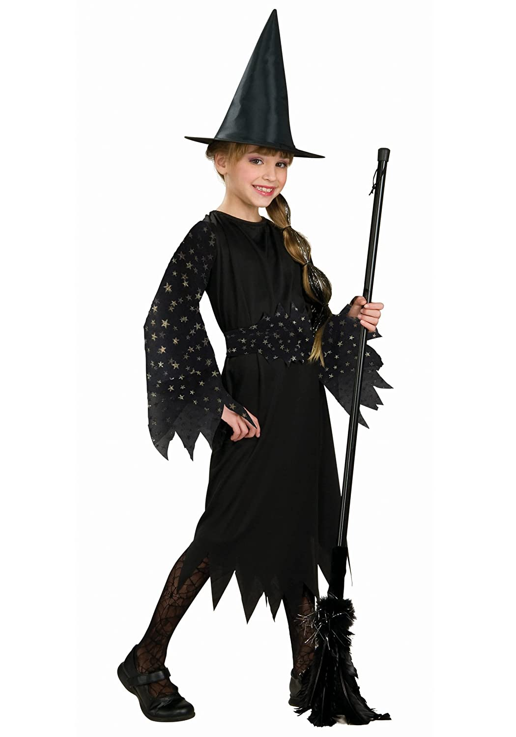 amazoncom halloween concepts childs witch costume with flocked velvet spider web fabric small toys games