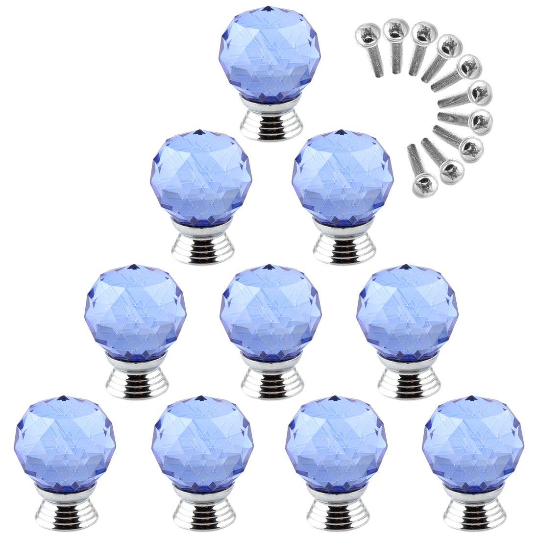 Goshfun 10Pcs Crystal Kitchen Cabinet Knobs Glass Furniture Cupboard Round Drawer Pull Handle - Blue