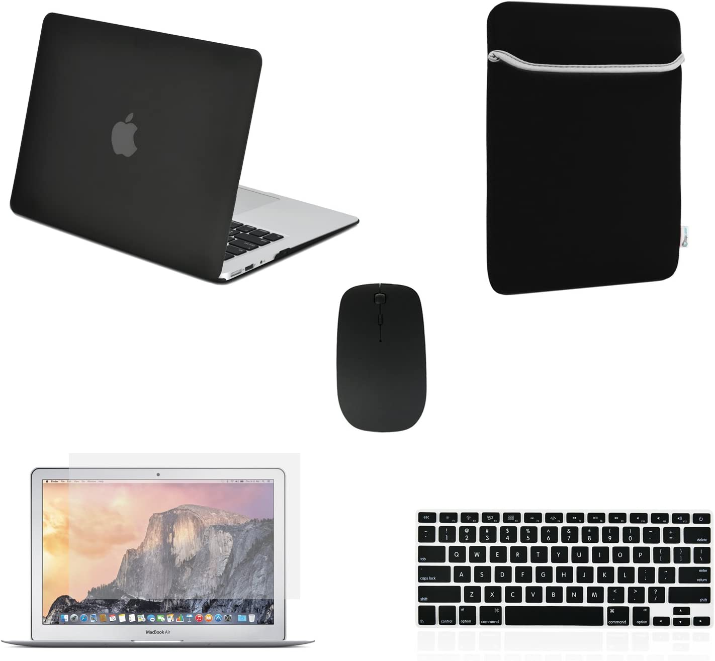 "TOP CASE - 5 in 1 Omni Bundle Rubberized Hard Cas, Keyboard Cover, Screen Protector, Sleeve Bag and Mouse Compatible MacBook Air 13"" A1369 & A1466 (Older Version, Release 2010-2017)- Black"