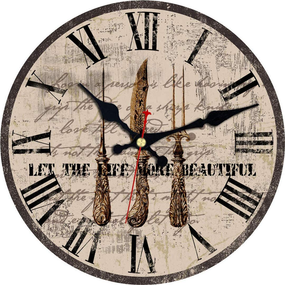 Vintage Wall Clocks Food Tableware Design Silent Kitchen Room Decor Decor Watches Art Large Wall Clocks No Ticking Sound Gray 14 inch (34 cm)