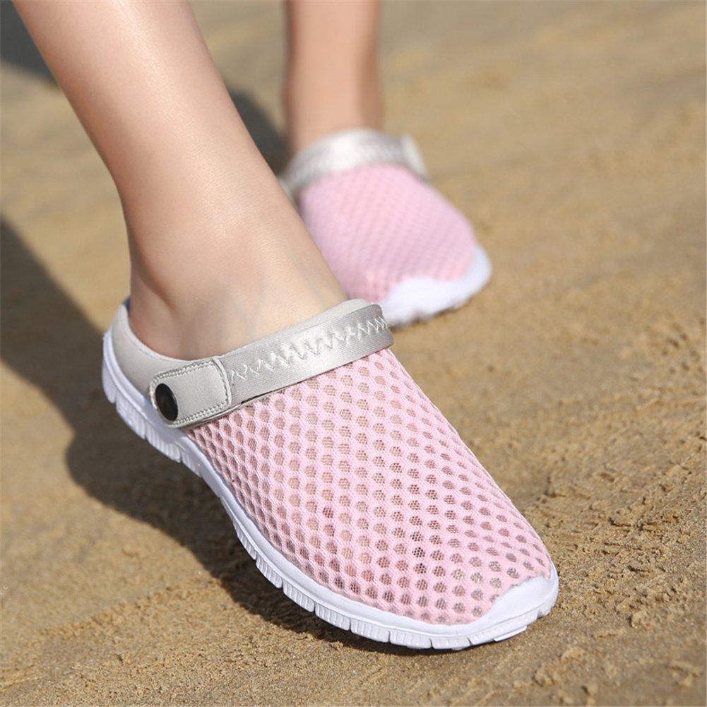 SAGUARO Sommer Unisex Atmungsaktiv Clogs Flach Hausschuhe Mesh Slippers Muffin Drag Pantolette Outdoor Strand Schuhe rutschfest Hollow Sandalen