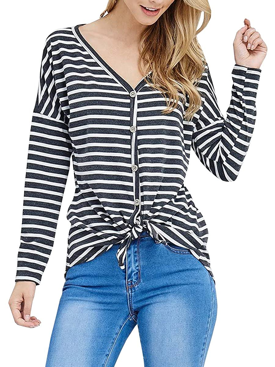 aa230b993 Features: Button down shirts for women, v neck t shirts, striped pattern  with front tie, long sleeves. Makes you more attractive, beautiful,  fashionable and ...