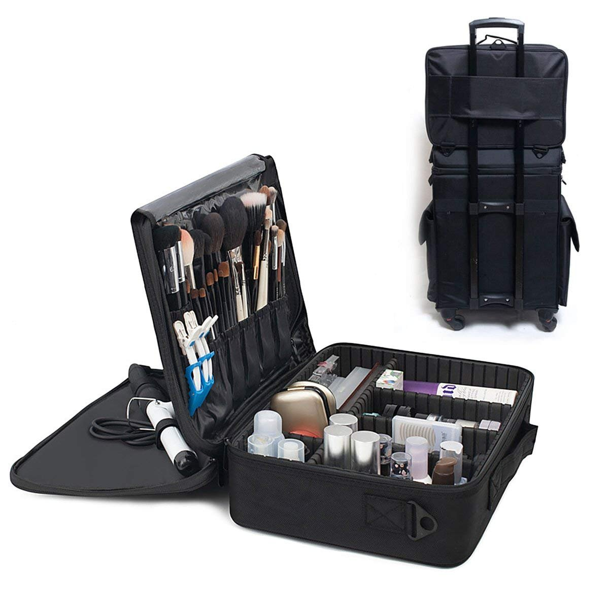 Makeup Train case,Professional Portable MakeUp Artist Case,Waterproof MakeUp Organizer Bag,3 Layer with Adjustable Shoulder.