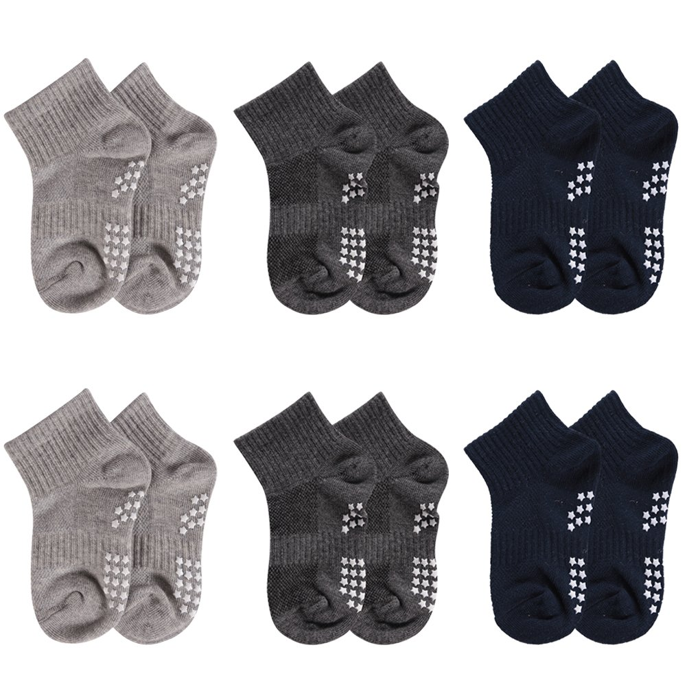 06 Pairssolid color1 Toddler Socks Non Skid, HAPYCEO Kids Sports Striped Cotton Crew Socks, 16 Years, 6 Pack