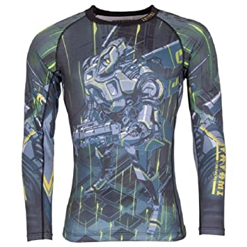 Tatami Renegade Grey Mens BJJ Rash Guard Long Sleeve Jiu Jitsu Compression MMA
