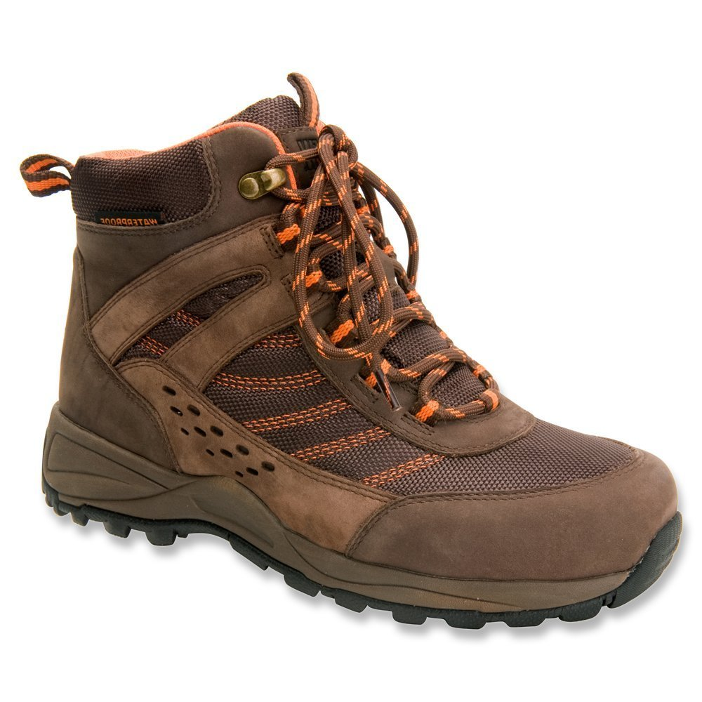 Drew Shoe Women's Glacier WR SR Lightweight Hiking Boot B00SJ9ZVZI 11.5 E US|Brown Nubuck/Orange Trim