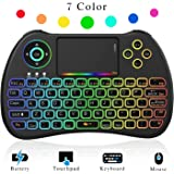 CCopnts (Updated 2018, Rainbow Backlit) Mini Wireless Keyboard 2.4GHz with Touchpad Mouse, LED Backlit, Rechargable Li-ion Battery